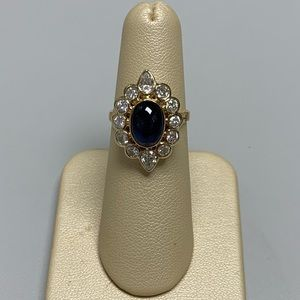 Jewelry - 18K YG Sapphire and Diamond Ring Size 5 1/2